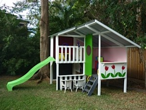 Cubby house with stencil decoration