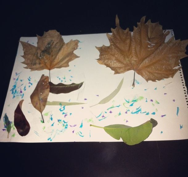 Leaf artwork fun things for kids to do in Autumn