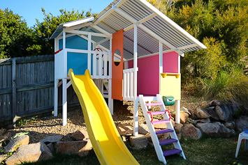DIY cubby house on uneven ground