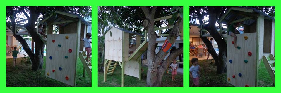 small fort custom cubby with tree house platform