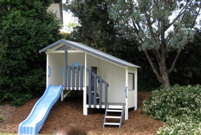 Modern cubby house kits kids cubby houses wooden diy for Duplex kit homes